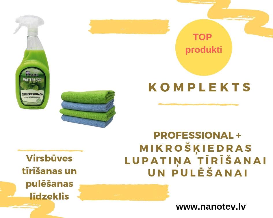 """KOMPLEKTS PEARL WATERLESS """"Professional""""- Profesionāls tīrīšanas līdzeklis + lupatiņa tīrīšanai + lupatiņa pulēšanai"""